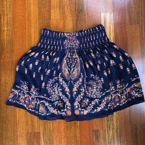 Navy and floral flowy skirt